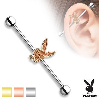 Sparkling Sand Blasted Playboy Bunny Surgical Steel Industrial Barbell - 14GA (Sold Ind.)