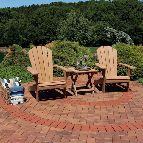 Sunnydaze All-Weather Adirondack Chair Set of 2 with Side Table - Brown