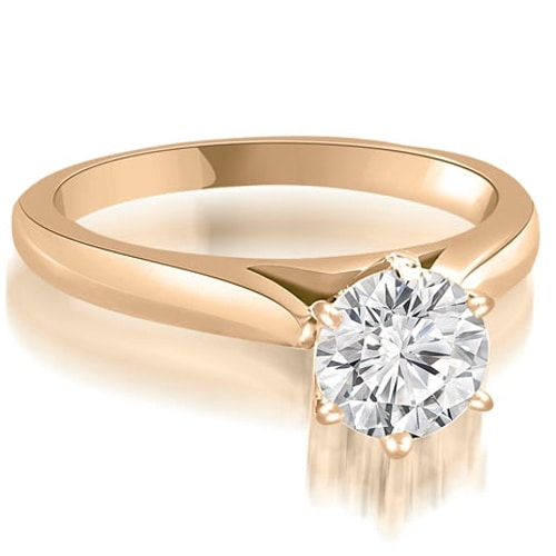 1.00 cttw. 14K Rose Gold Cathedral 6-Prong Round Cut Diamond Engagement Ring