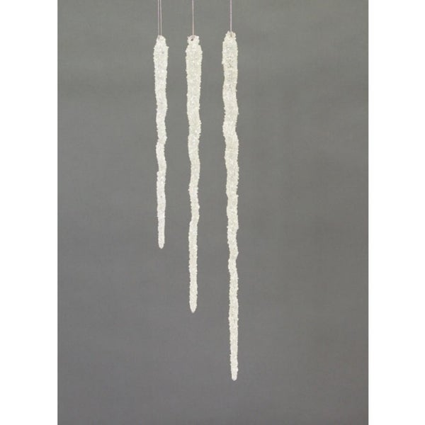 Set of 3 Snow Drift Clear Glittered Glass Icicle Christmas Ornaments