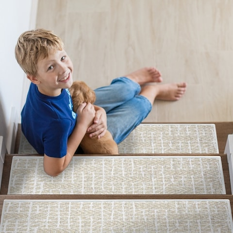 """SussexHome Hudson Design 9"""" X 28"""" Stair Treads - 70% Cotton Anti-Slip Carpet Strips for Indoor Stairs-with Double Adhesive Tape"""