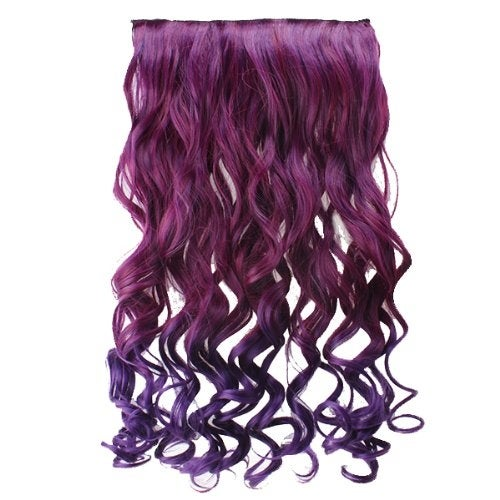 "AGPtek 26"" Enstyle Supreme Neon Tangle Curly Hair Extension Ponytail-Rose red to dark purple"