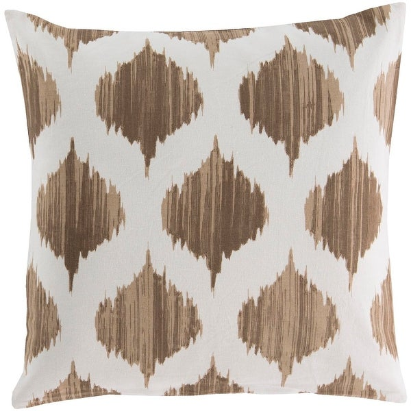 "22"" Brown and Cream White Contemporary Woven Digitally Printed Square Throw Pillow"