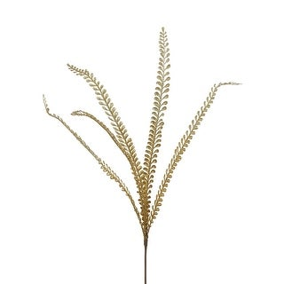 """Pack of 12 Light and Dark Gold Glittered Leaf Spray Christmas Craft Decorations 28"""""""