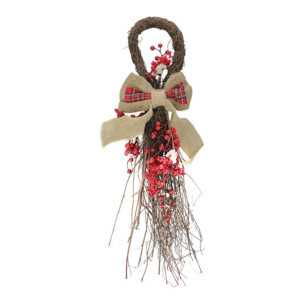 """24"""" Country Rustic Twig and Red Berries with Burlap and Plaid Bow Christmas Teardrop Swag"""