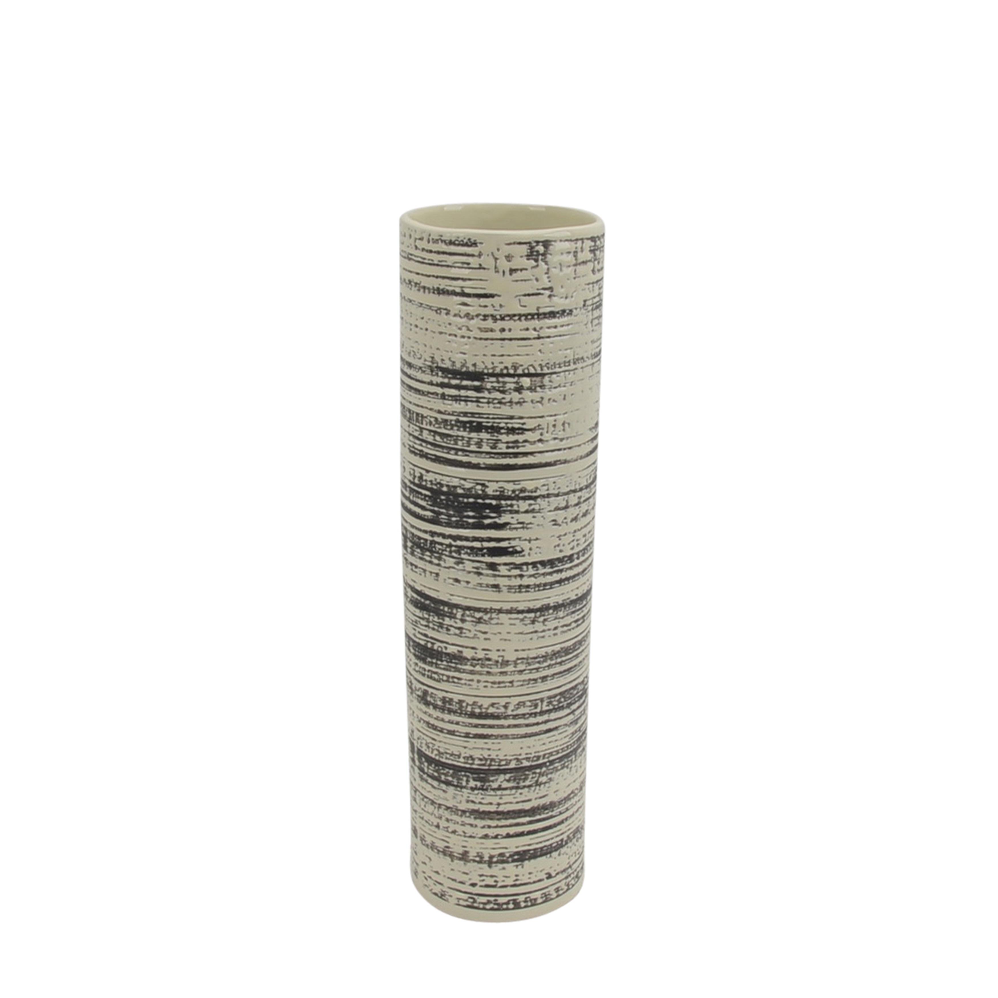 Transitional Ceramic Vase with Cylindrical Shape, Black and White
