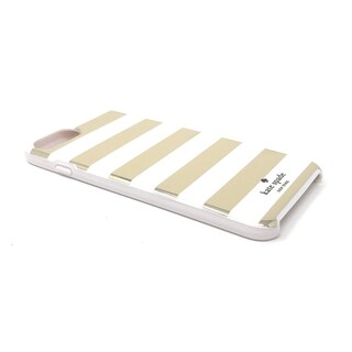 Kate Spade New York Candy Stripe Gold Cream Flexible Hardshell Case for iPhone 8 Plus & iPhone 7 Plus