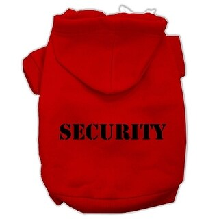 Security Screen Print Pet Hoodies Red Size w/ Black Size text XS (8)