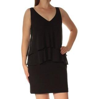 Womens Black Sleeveless Above The Knee Sheath Dress Size: 10