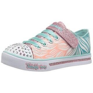 Skechers Girls' Sparkle Glitz-Shiny Spirit Sneaker,White/Mint,1 M Us Little Kid