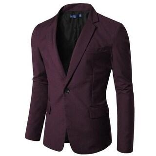 Doublju Mens Notch Collar Polyester One-Button Suit Jacket - 2XL