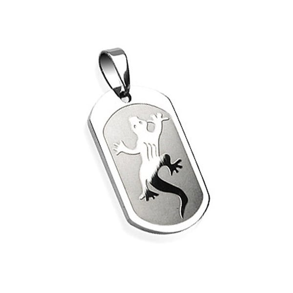 Stainless Steel Gecko Engraved Pendant (20 mm Width)