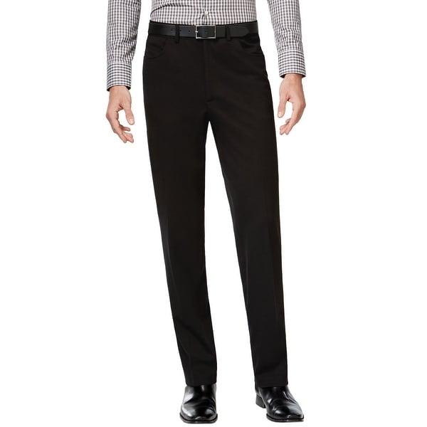 Alfani Red Label Slim Fit Soft Flat Front Dress Pants Deep Black 40 x 32