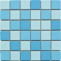 "TileGen. 2"" x 2"" Porcelain Pool Mosaic Tile in Creamy Blue Floor and Wall Tile (11 sheets/10.56sqft.)"