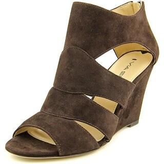 Via Spiga Fion Women Open Toe Suede Brown Wedge Sandal