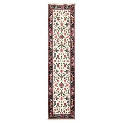 Hand Knotted Qum Cream, Ivory Persian Wool Oriental Area Rug (Runner) - 2' 6'' x 9' 10''