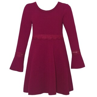 Girls Berry Lace Trim Flared Long Sleeve Criss-Cross Strap Dress