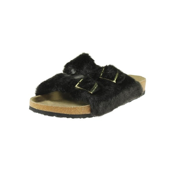 Steve Madden Womens Soul Slide Sandals Faux Fur Double Strap