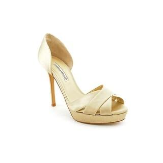 Charles David Seduction Women Open Toe Canvas Gold Platform Heel