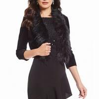 Jessica Howard Black Womens Size Large L Velvet Faux Fur Jacket