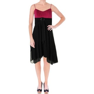 Ruby Rox Womens Juniors Two-Tone Pleated Party Dress - S