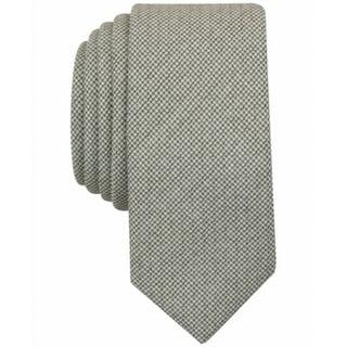 Penguin NEW Olive Green Men's Skinny Biloki Houndstooth Neck Tie