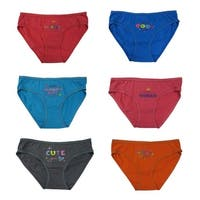 "Girls 12-Pack Cotton ""Little ..."" Phrase Assorted Colors Brief Panties"