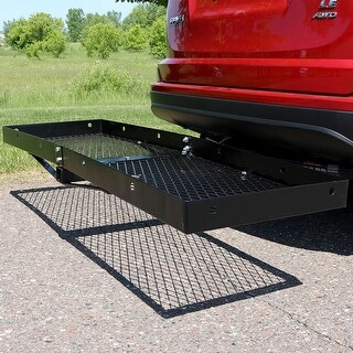 Sunnydaze Hitch Mounted Cargo Carrier with 2 Inch Receiver - 500lb Capacity