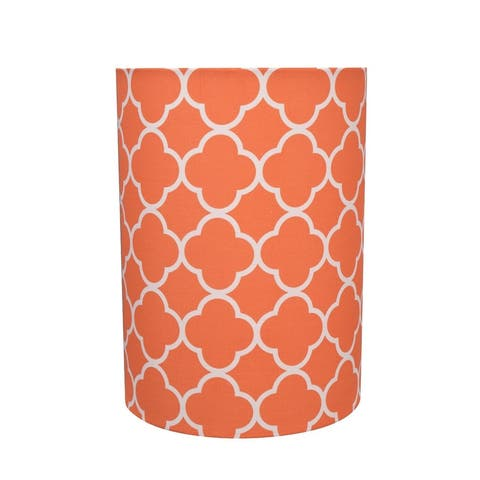 "Aspen Creative Drum (Cylinder) Shaped Spider Construction Lamp Shade in Orange (8"" x 8"" x 11"")"