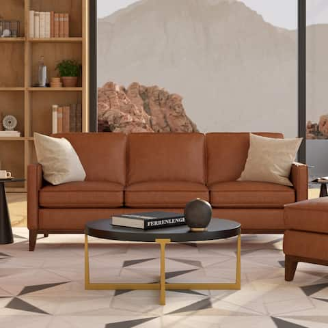 Metropole Top Grain Pull Up Leather Mid-century Sofa - Removable Cushions