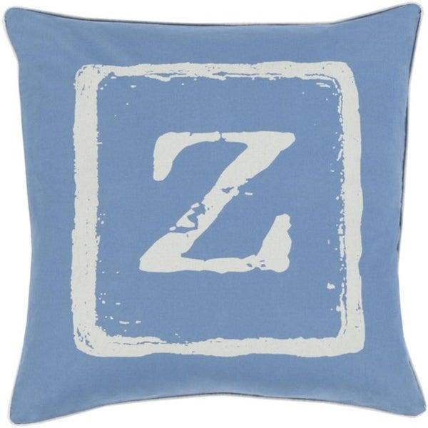 "18"" Colbalt Blue and Beige ""Z"" Big Kid Blocks Decorative Throw Pillow - Down Filler"