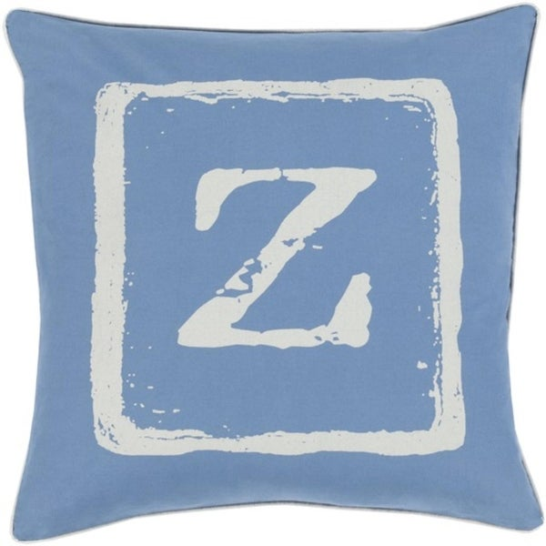 "20"" Colbalt Blue and Beige ""Z"" Big Kid Blocks Decorative Throw Pillow - Down Filler"
