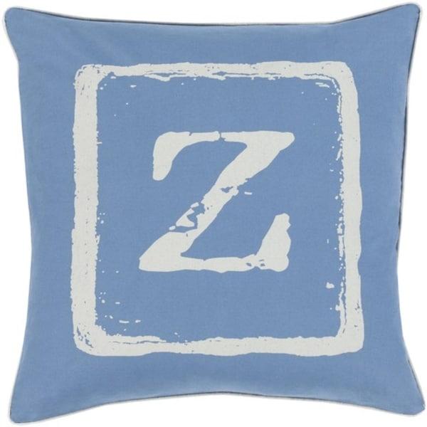 "22"" Colbalt Blue and Beige ""Z"" Big Kid Blocks Decorative Throw Pillow - Down Filler"