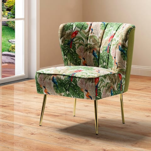 Amata Tufted Side Chair with Golden Base