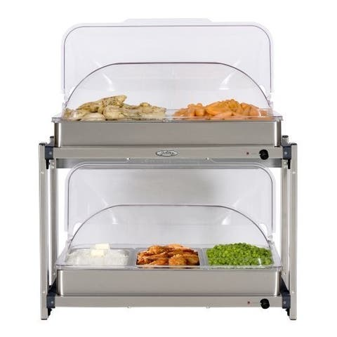 BroilKing MLB-25RT Professional Multi-Level Buffet Server w/ Stainless Base & Rolltop Lids