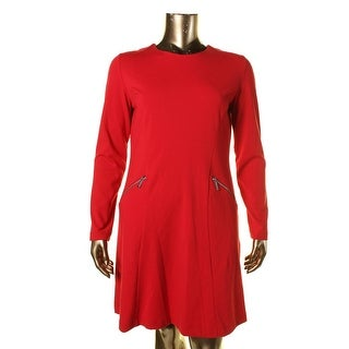 Michael Kors Womens Solid Long Sleeves Wear to Work Dress