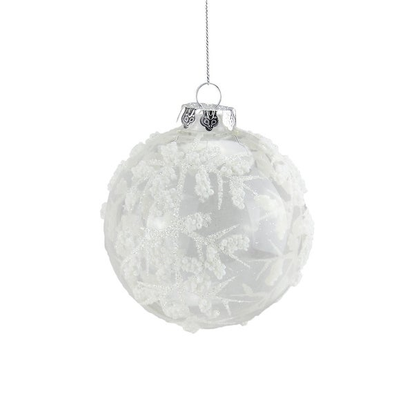 "3.25"" Clear with White Glitter Bead Glass Ball Christmas Ornament"