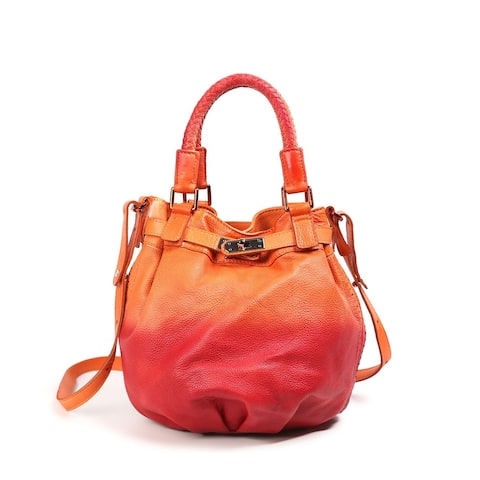 Old Trend Pumpkin Leather Bucket Tote Bag