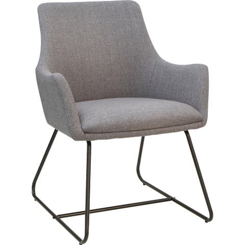 Lorell Gray Flannel Guest Chair with Sled Base - Sled Base - Gray - 1 Each
