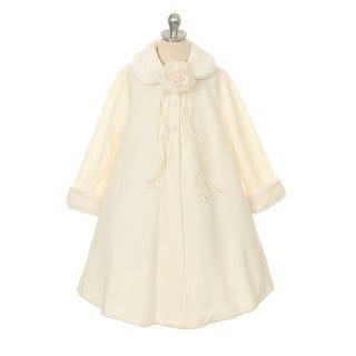 Kids Dream Ivory Fleece Faux Fur Collar Cuff Stylish Coat Girls 2T