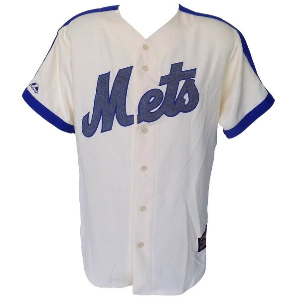 New York Mets Majestic Cooperstown Collection Cream Jersey Size Medium