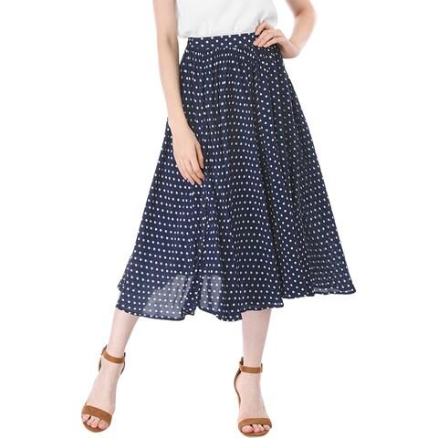 Allegra K Women Polka Dots Elastic Waist Midi A Line Skirt - Blue