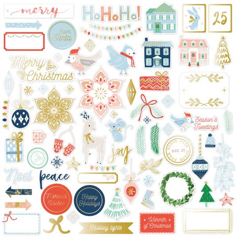 Pinkfresh Die-Cuts 74/Pkg-Holiday Vibes W/Gold Foil Accents