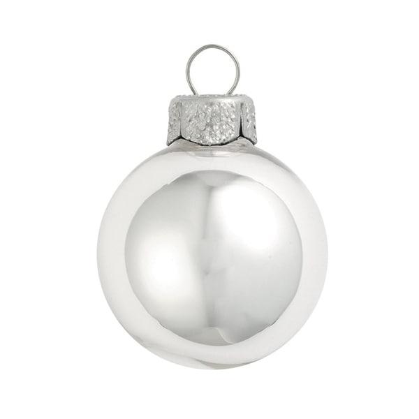 "28ct Shiny Silver Glass Ball Christmas Ornaments 2"" (50mm)"