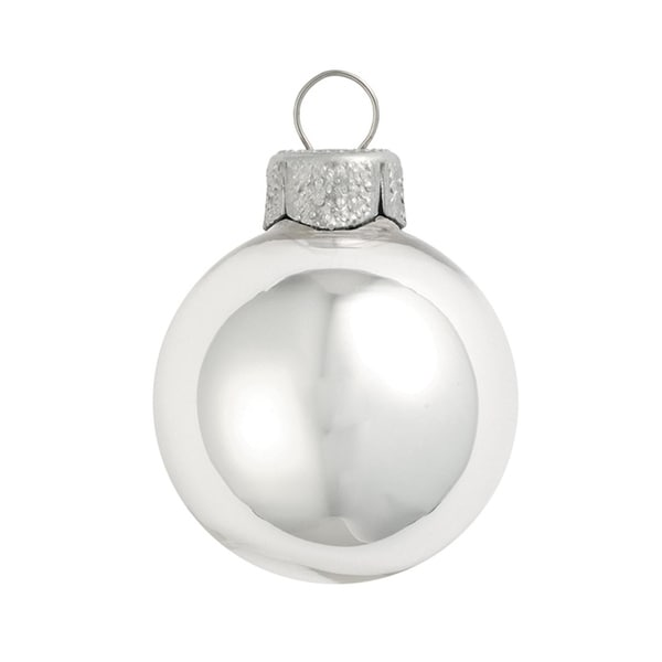 "40ct Shiny Silver Glass Ball Christmas Ornaments 1.5"" (40mm)"
