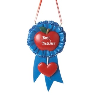 Best Teacher Blue Ribbon Christmas Ornament for Personalization 4.75""