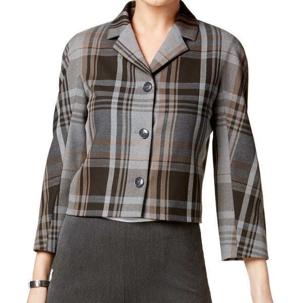 18d4da8fa Tommy Hilfiger NEW Brown Women's Size 10 Plaid Notch Collar Jacket