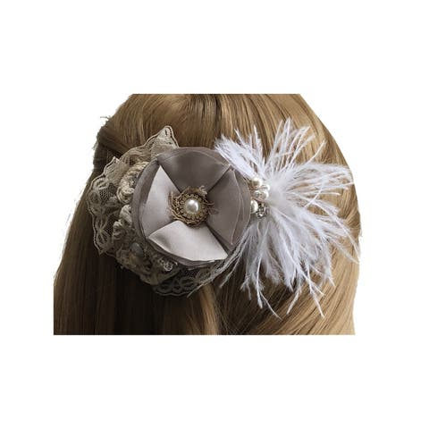 Mimos by Tia Girls Beige Flower Brooch Accented Feather Hair Clippie - One Size