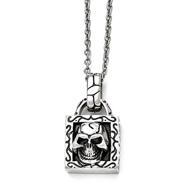 Chisel Stainless Steel Polished and Antiqued Skull Necklace - 22 in