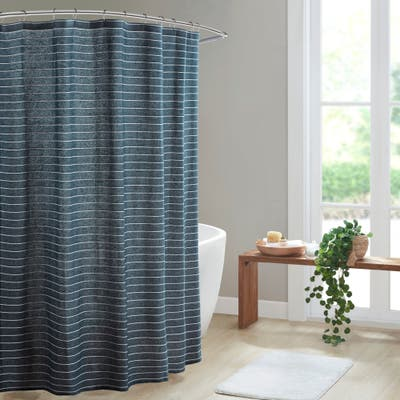 Cashel Texture Striped 100-percent Recycled Fiber Antimicrobial Woven Shower Curtain by Clean Spaces